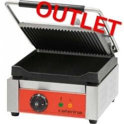 OUTLET | Kontakt grill pojedynczy ryflowany/gładki z powłoką polimerową STALGAST 742017  Caterina