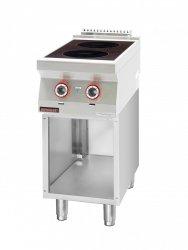 Kuchnia indukcyjna 2x3,5kW na podstawie szafkowej otwartej  KROMET 700.KE-2i/400.S LINIA 700