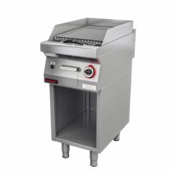 Lawa grill 400 mm 7kW na podstawie szafkowej otwartej  KROMET 700.OGL-400.S LINIA 700
