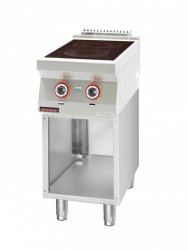 Kuchnia elektryczna ceramiczna 2 pola 1x2,1kW + 1x2,0kW na podstawie szafkowej otwartej  KROMET 700.KE-2C.S LINIA 700