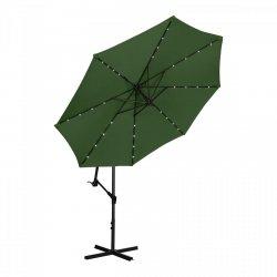 Parasol ogrodowy wiszący - Ø300 cm - zielony - LED UNIPRODO 10250084 UNI_UMBRELLA_R300GRL