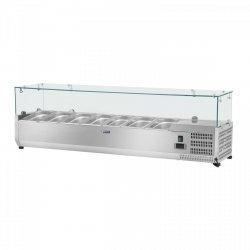 Nadstawa chłodnicza - 160 x 33 cm - 8 x GN 1/4 - szklana osłona ROYAL CATERING 10010932 RCKV-160/33-8