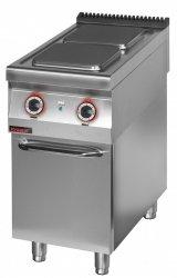 Kuchnia elektryczna 2 płytowa 450 mm 2x4,0 kW na podstawie szafkowej zamkniętej  KROMET 900.KE-2.S.D LINIA 900