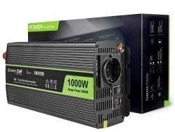 Samochodowa Przetwornica Napięcia Green Cell ® 12V do 230V, 1000W/2000W Czysta sinusoida GREEN CELL INV09