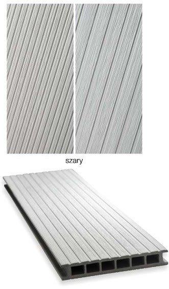 Deska tarasowa GAMRAT - kompozytowa ryflowana 25x160x4000 jasny szary Wersja M