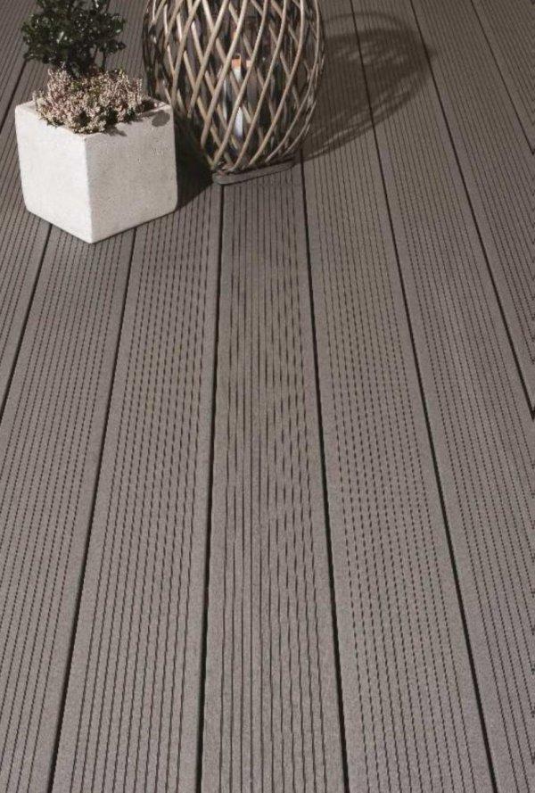 Deska tarasowa kompozytowa iDeck Luna szara ryflowana 25x150x2900mm