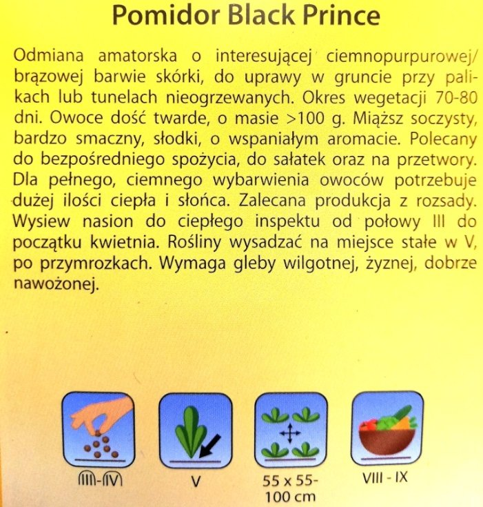 Pomidor Black Prince nasiona Plantico