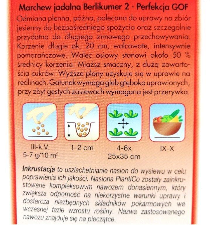Marchew Berlikumer Perfekcja opakowanie Plantico