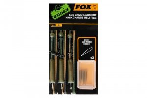 FOX Zestaw Tied Camo Leadcore 50lb Kwik Change Heli Rigs