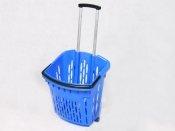 Kosz sklepowy 40 L. Niebieski na kółkach z rączką