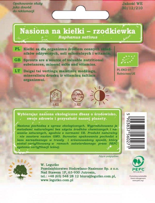 Bio uprawa kiełków rzodkiewka