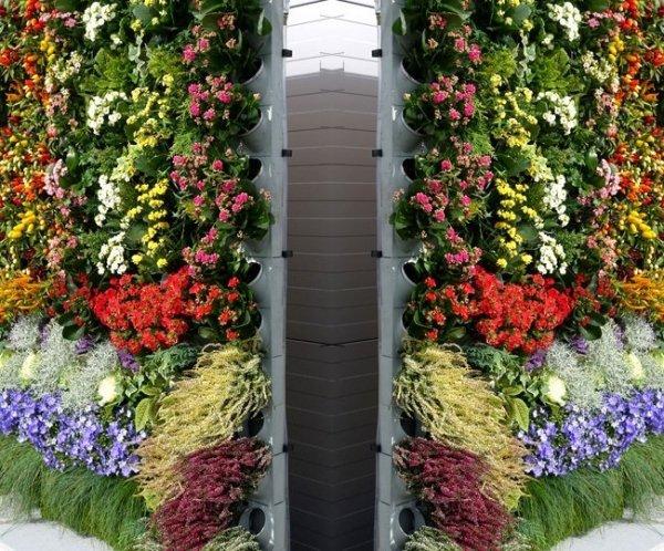 innowacyjny system ścian z kwiatami