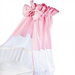 moskitiera na łóżeczko / baldachim UNIWERSALNY Z KOKARDKĄ woal + bawełna RÓŻ Klupś