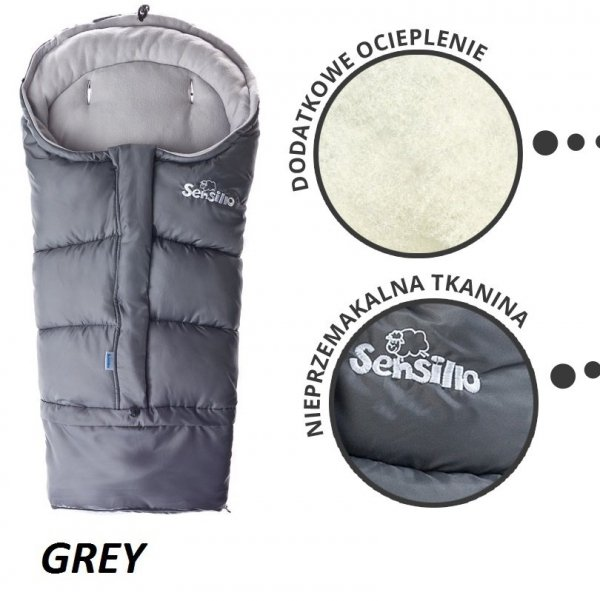 Śpiworek regulowany 4w1 do wózka . fotelika i na sanki POLAR  Sensillo SZARY/GREY