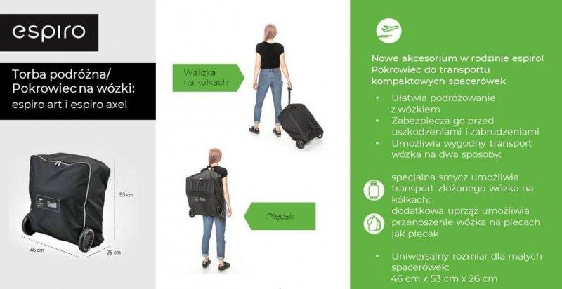 2020 leciutki, kompaktowy wózek ART do samolotu firmy ESPIRO (opcja torba transportowa)