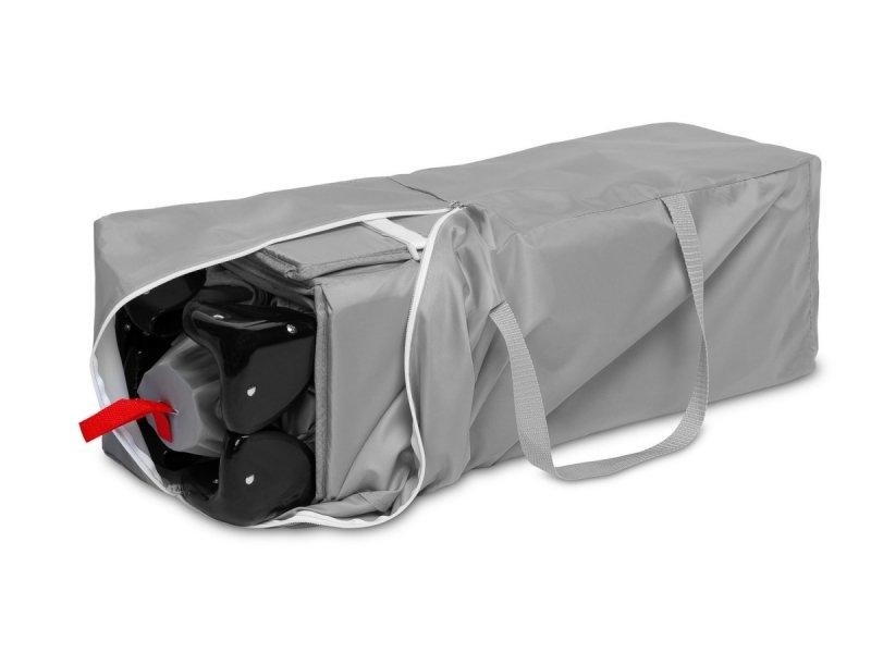 Łóżeczko turystyczne ESTI kolor GREY z funkcją dostawki ( opuszczany bok) + materac , torba Caretero