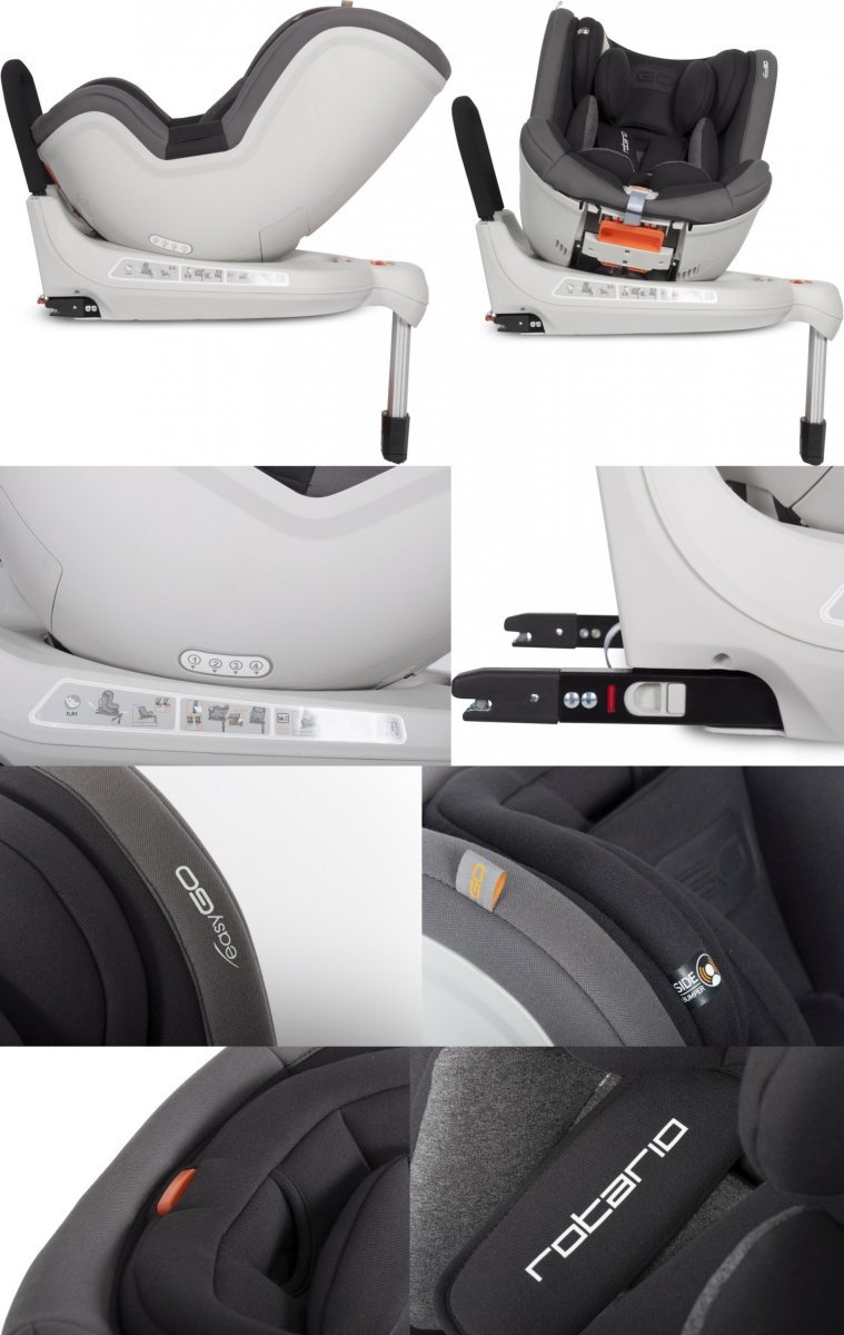 fotelik obrotowy ROTARIO 0-18 KG isofix easy go tyłem do kierunku jazdy AŻ do 18 kg ( 3 gwiazdki ADAC )
