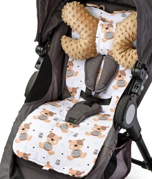 Wkładka do wózka ( wkładka i poduszka)– Basic SENSILLO  MISIE BEŻOWE