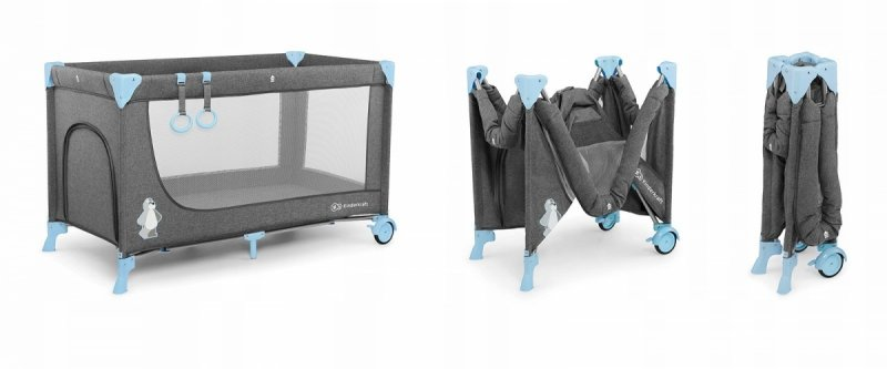 Łóżeczko turystyczne JOY Blue ( kojec, podwieszany materac, karuzelka, moskitiera, uchwyty) FULL OPCJA Kinderkraft