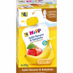 Hipp Bio Mus Jabłko Banan Keks + Łyżeczka 4m 4x90g