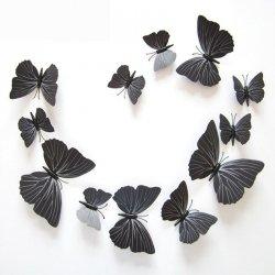MOTYLKI MOTYLE 3D ŚCIANĘ PVC 12 MONTAŻ Czarne Magnes