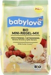 Babylove Bio Batoniki Mix smaków Banan Jabłko Wiśnia 1r