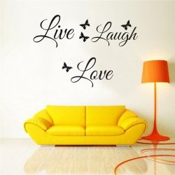 Naklejki na ściane Napis Żyj Śmiej Się Kochaj 13x60