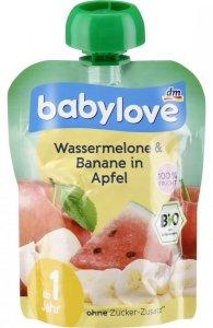 Babylove BIO mus w woreczku Arbuz Banan Jabłko 1r 90g