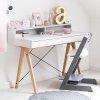 Nowoczesne biurko Minko Basic + z nadstawką w kolorze jasno siwym