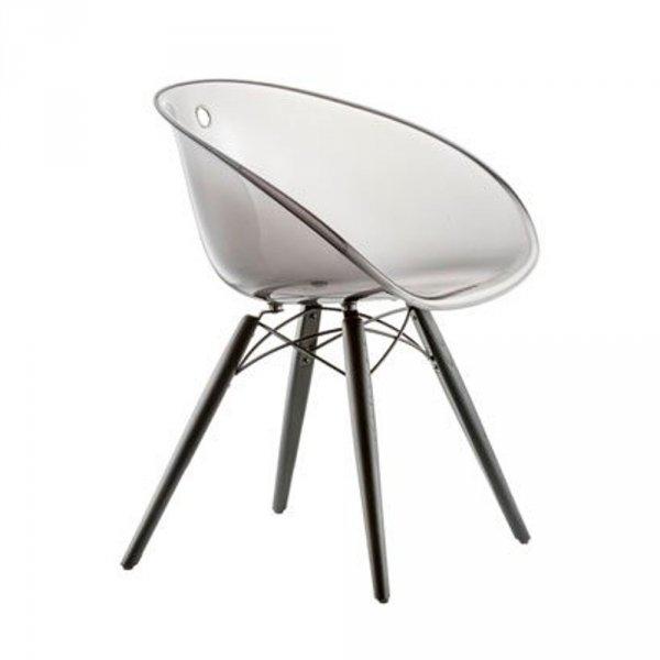 Transparentne krzesło Gliss 905 z jesionowymi nogami barwionymi na czarno