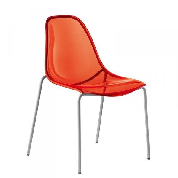 Nowoczesne krzesło transparentne czerwone Pedrali Day Dream 405