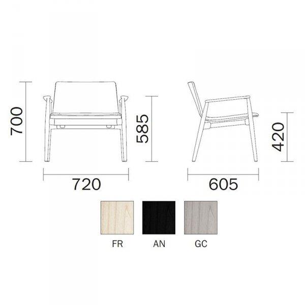 Fotel drewniany w stylu skandynawskim Malmo 296 Pedrali wymiary