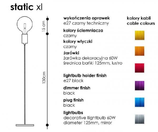 Static XL Lampa Stojąca CablePower