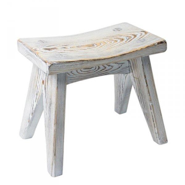 Drewniany taboret bielony 91 Gie El