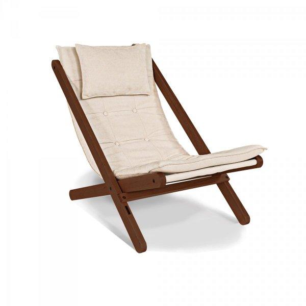 Allegro leżak z drewna naturalnego w kolorze orzecha-olej lniany/kremowa poduszka Woodman