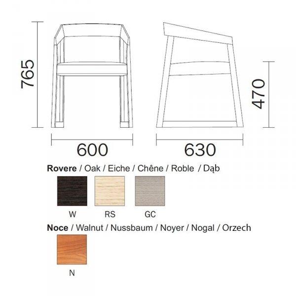 Drewniany fotel Sign 455 Pedrali wymiary