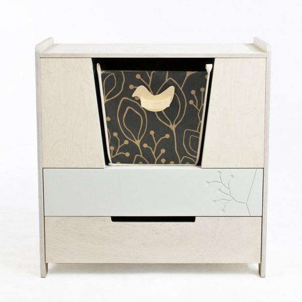 KuKuu Komoda z Przewijakiem w kolorze mlecznym Bird&Berry