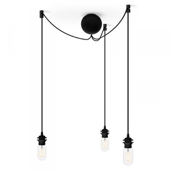 Potrójne zawieszenie do lamp czarne oplot Cannonball Cluster 3