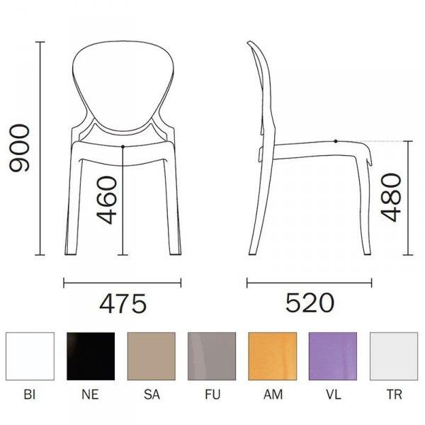 Krzesło Quenn 650 Pedrali wymiary