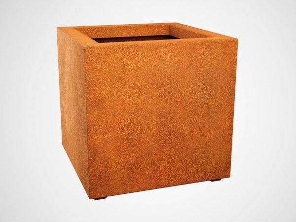 Donica w kształcie sześcianu CUBO 3 wykonana ze stali cortenowskiej