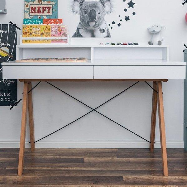 Stylowe biurko Minko Basic + z nadstawką pomieści wszystko co niezbędne do pracy czy nauki