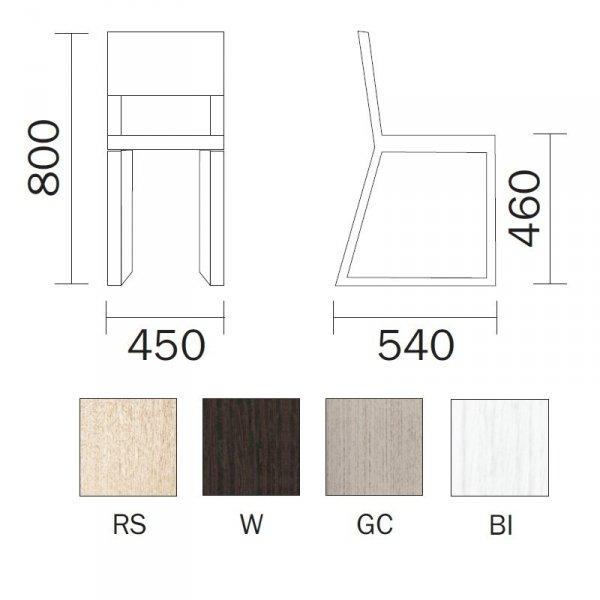 Stylowe krzesło do jadalni Feel 450 Pedrali wymiary