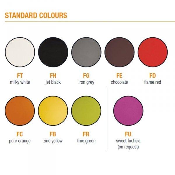 Siedzisko Wheely dostępne jest w szerokiej gamie kolorystycznej w kolorach standard