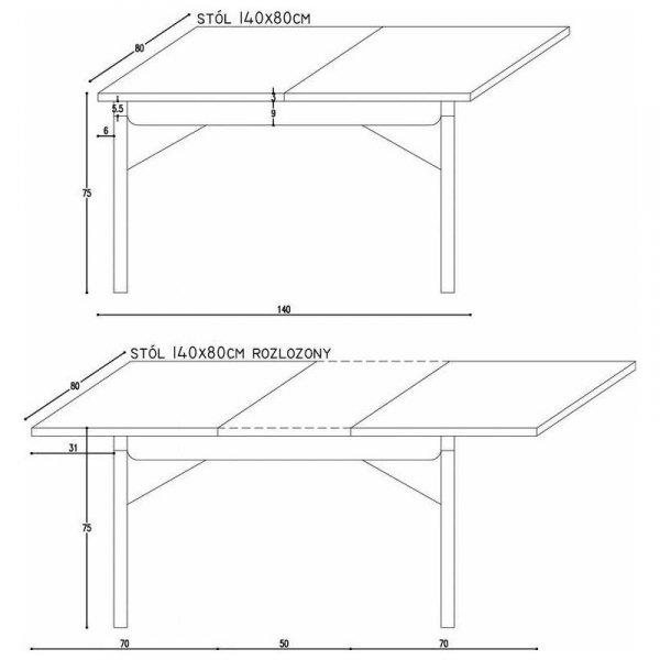 Wymiary rozkładanego stołu Minko Basic 140x80cm