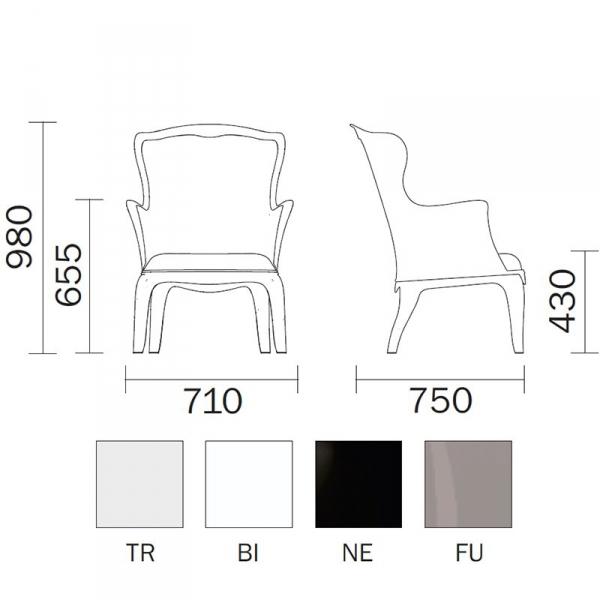 Fotel Pasha 660 Pedrali wymiary i kolory