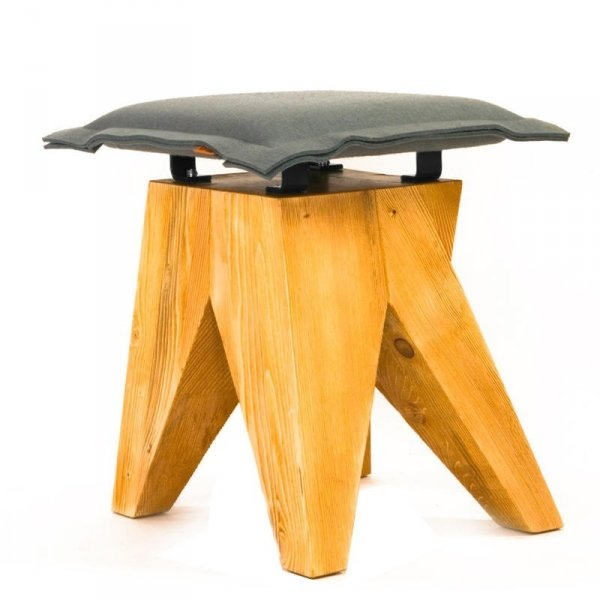 Stołek drewniany Low szary Gie El