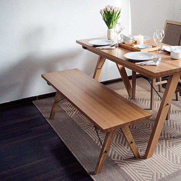 Ręcznie wykonana ławka z solidnego drewna Minko Woodie