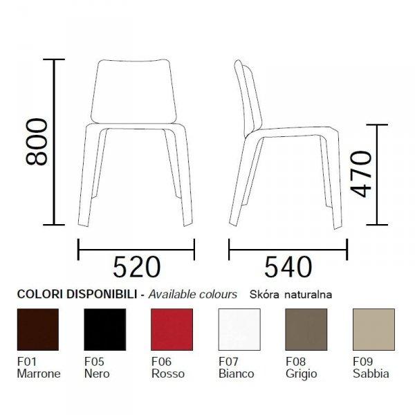 Mood 720 Pedrali wymiary i kolory skórzanej tapicerki