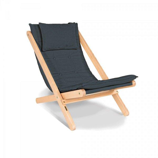 Allegro leżak z drewna naturalnego lakierowanego olejem lnianym/grafitowa poduszka Woodman