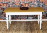 Stół z dębowym zaokrąglonym blatem Bianco lux